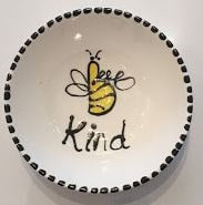 Hand Painted Plate - Bee Kind - gonepottynz