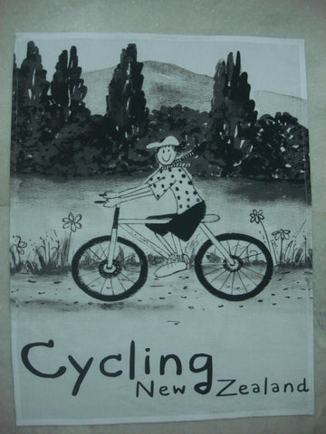 Tea Towel | NZ Cycling B+W | Bridget Paape - gonepottynz