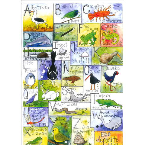 A to Z New Zealand Eco Deposits - Art Print - gonepottynz