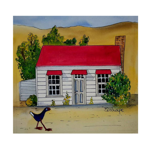 Red Cottage Clyde - Art Print
