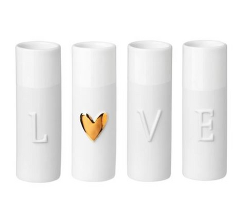Love Set of 4 - Mini Porcelain Vase - gonepottynz