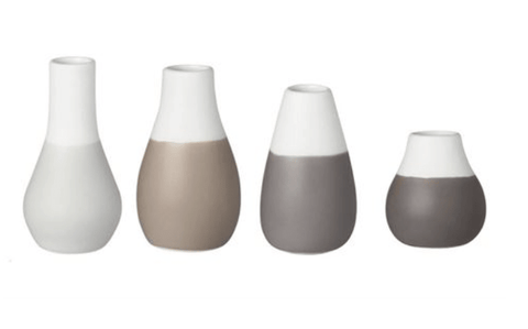Vases mini - set of 4 - Grey Pastel - Gone Potty - Gift Shop Dunedin