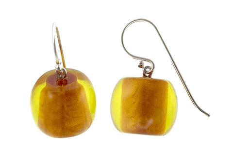 Resin Earring - Mustard/Yellow - Gone Potty Dunedin