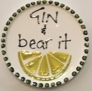 Hand Painted Plate - Gin & Bear it - gonepottynz