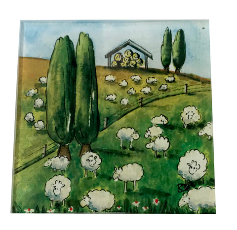 Glass Coaster | Sheep | Bridget Paape - gonepottynz