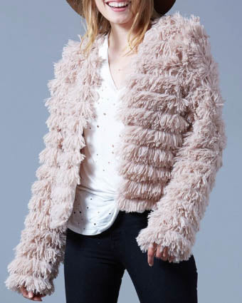 Faux Fur Layered Jacket - Beige