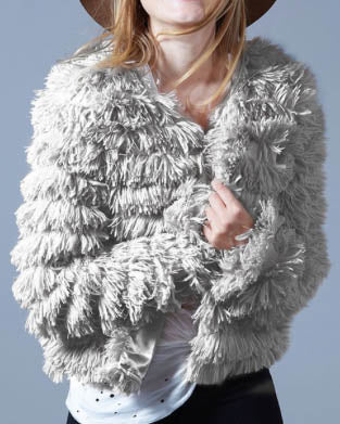 Faux Fur Layered Jacket - Grey