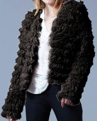 Faux Fur Layered Jacket - Black