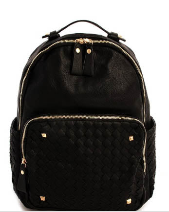 Vegan Leather Woven Detail Backpack