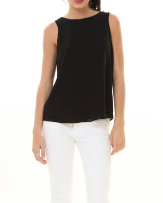Back Loop Detail Sleeveless Top - Black