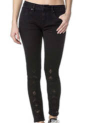 MISS ME Embroidered Detail Ankle Skinny Jeans