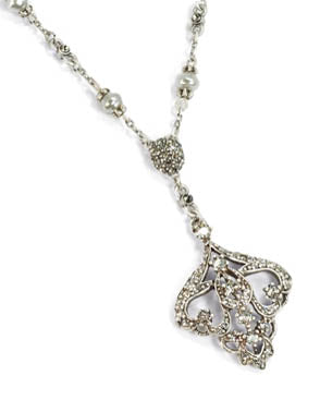 Art Deco Vintage Arabesque Necklace - Silver