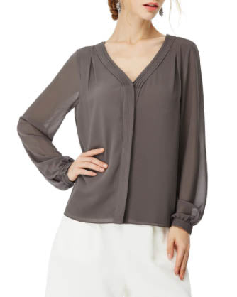 NAKED ZEBRA Front Pleat Sheer Long Sleeve Top - Charcoal