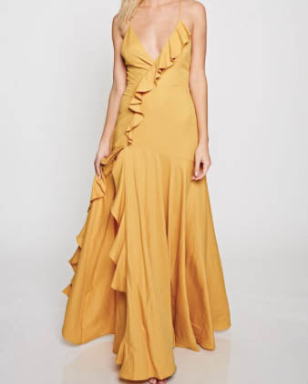 Cross Back Ruffle Maxi Dress - Mustard