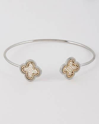 Clover Inspired Thin Open Cut Bracelet - Silver