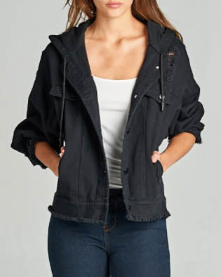 Distress Hem Hooded Denim Jacket