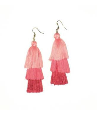 Red Silk Layered Tassel Earrings