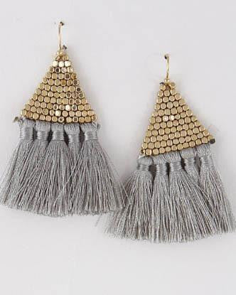Triangle Tassel Earrings - Grey