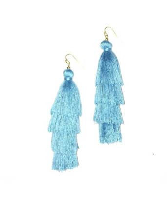 Solid Color Silk Tassel Layered Earrings - Blue