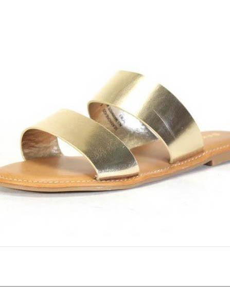 Gold Metallic Slip-On Slide Sandals
