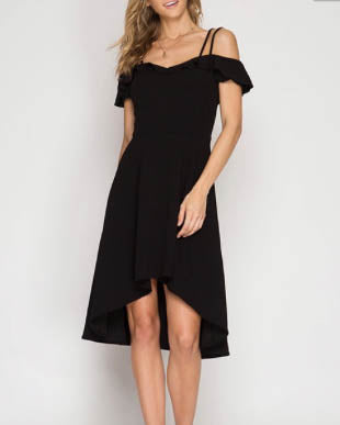 Cold Shoulder High Low Dress