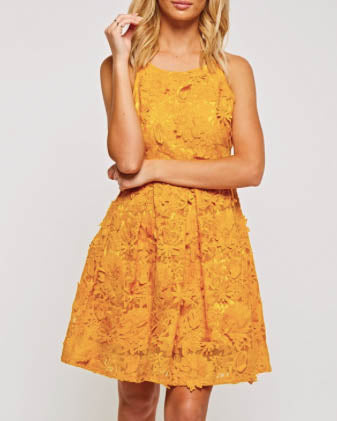 Floral Crochet Ruffle Mini Dress