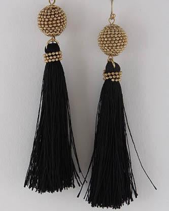 Fairy Tale Tassel Earrings - Black