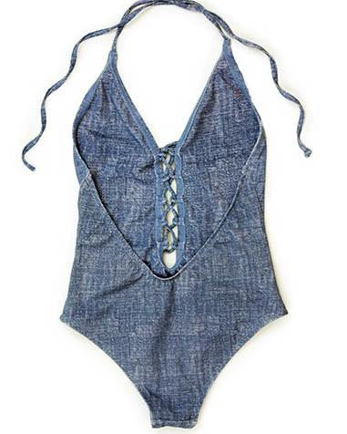 Dippin' Daisy's Denim Style Front Lace-Up One-Piece Swimsuit