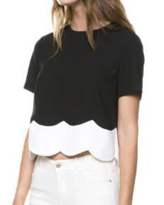AFTER MARKET Scallop Top (Black/White)