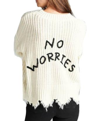 No Worries Frayed Hem Sweater - Ivory