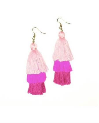 Pink Silk Layered Tassel Earrings