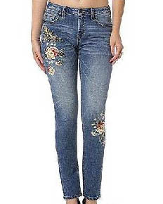 MISS ME Floral Canary Embroidered Skinny Jeans