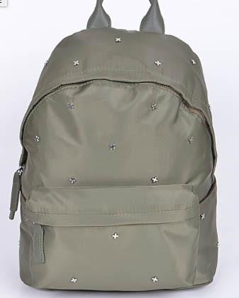 Trendy Small Silver Cross Detail Backpack - Olive
