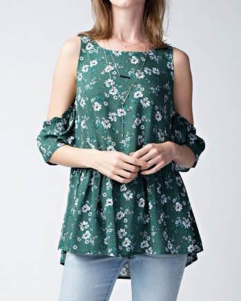 Emerald Prairie Print Open Shoulder Top