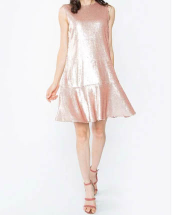 Sequin Dress With Tie Back Detail