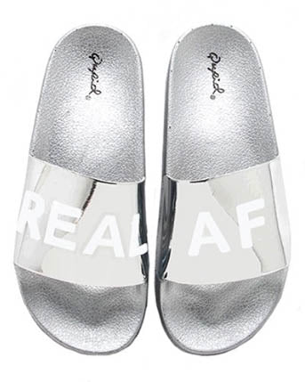 Real AF Metallic Silver Slide Sandals