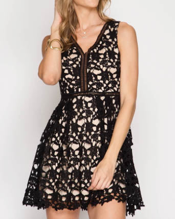 Sleeveless Fit And Flare Crochet Dress - Black