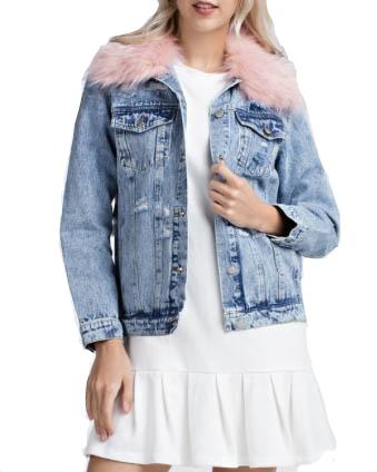 Pink Faux Fur Collar Distressed Denim Jacket