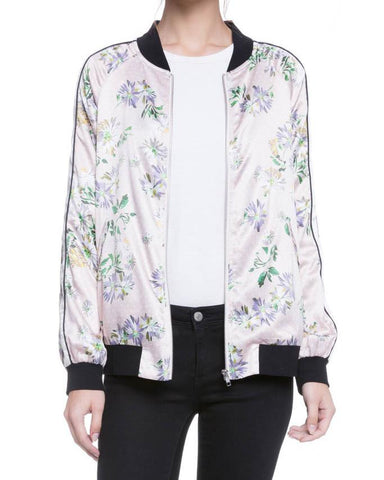 Daisy Print Spring Bomber Jacket With Piping Detail
