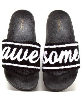 Awesome Terry Cloth Black And White Slides