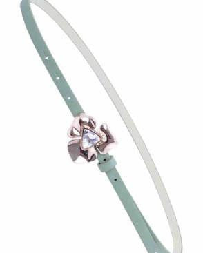 Faux Leather Skinny Belt With Metal Flower Detail