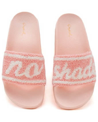 No Shade Pink Terry Cloth Slides