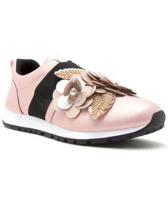 Blush Sneaker With Floral Embellishments