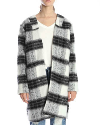Plaid Collarless Coat Jacket