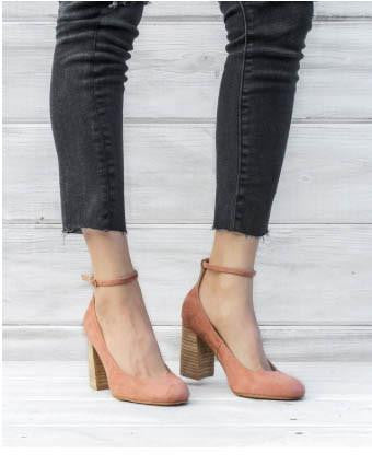 Blush Block Wood Heel With Ankle Strap