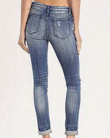 MISS ME Distressed Flannel Patchwork Skinny Ankle Jeans