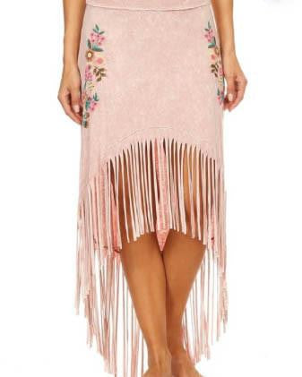 Mineral Washed High Low Skirt With Fringe And Floral Embroidery