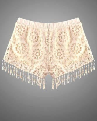 Crochet Shorts With Fringe Hem