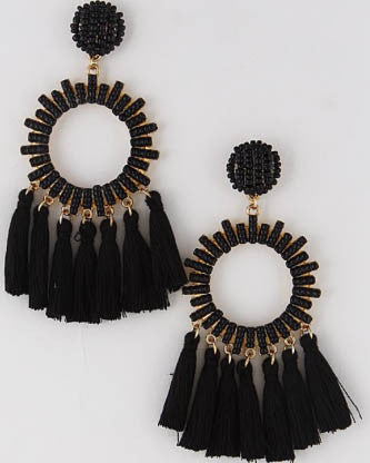 Beaded Circle Tassel Earrings - Black - Roehampton Road