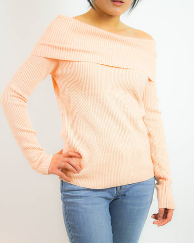 Peach Knit Off-the-Shoulder Sweater Top